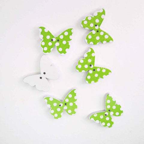 Green Butterfly Wood Buttons, 2 Holes, Pack of 6 Buttons