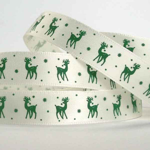 15 mm Christmas Green Reindeer Satin Ribbon, 5/8 inch Xmas Green Reindeer on White Ribbon - Fabric and Ribbon