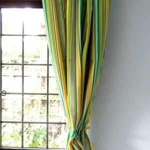 Green, Yellow and Blue Striped Cotton Furnishing Fabric . - Fabric and Ribbon
