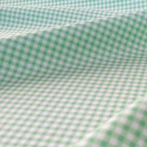 Green Gingham Fabric by Rose & Hubble, Mint Green and White Checked Cotton Fabric