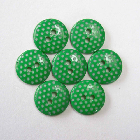 15 mm Green Microdot Buttons, Pack of 12 Green Small Polka Dot Button