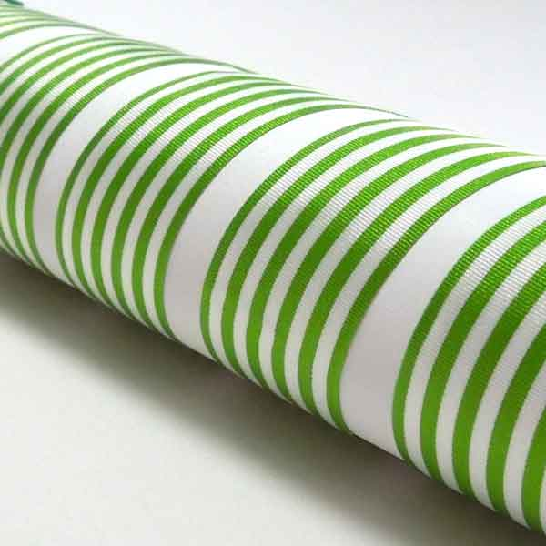 Light Green and White Striped Ribbon, 9 mm, 16 mm, 25 mm Width