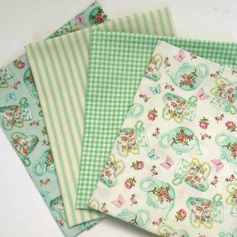 Green Teapot and Teacups Fat Quarter Bundle, Rose & Hubble Cotton Fat Quarter Pack