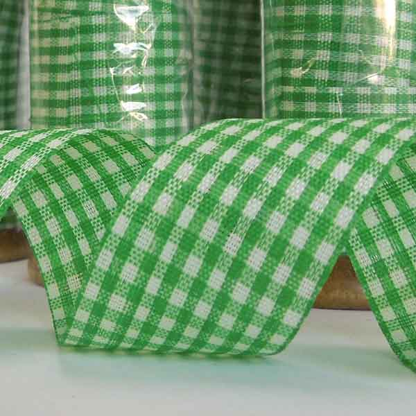 25 mm Green Gingham Ribbon on a Wooden Spool, 5 Metres Green Gift Wrap Ribbon