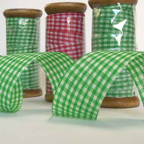 25 mm Green Gingham Ribbon on a Wooden Spool, 5 Metres Green Gift Wrap Ribbon - Fabric and Ribbon