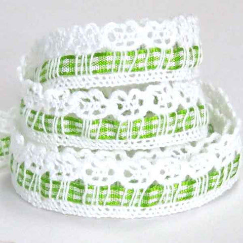 Green Gingham Ribbon and White Cotton Lace , 5/8 inch  Lace and Green Ribbon