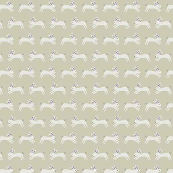 White Rabbits on Grey Cotton Fabric by Andover Fabrics for Makower,  Forest Talk Collection, Jumping Rabbits Grey Cotton Fabric