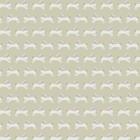 Silver Jumping Rabbits Cotton Fabric by Andover Fabrics A8487-GC Forest Talk Collection