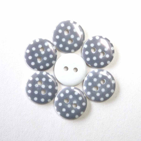 15 mm Grey Small Polka Dot Buttons, Pack of 10 Grey Buttons