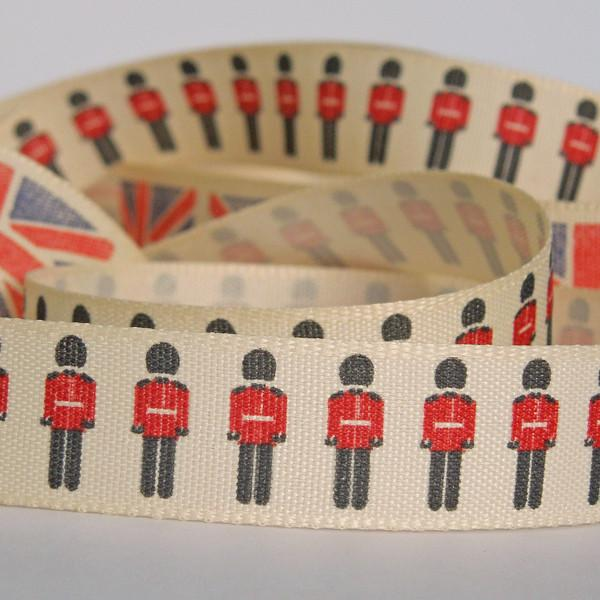 15 mm Red Soldiers Ribbon by Berisfords, 5/8 inch British Soldiers Ribbon, part of The Home Front collection - Fabric and Ribbon