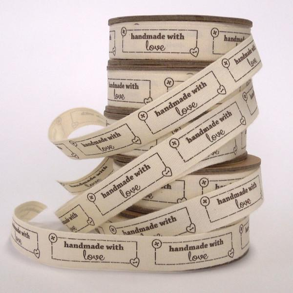15 mm Handmade With Love Cotton Ribbon, 5/8 inch Handmade Labels on Natural Cotton Tape - Fabric and Ribbon