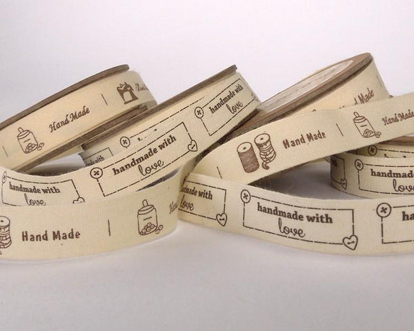 15 mm Handmade With Love Cotton Ribbon, 5/8 inch Handmade Labels on Natural Cotton Tape