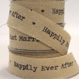 22 mm Happily Ever After Linen Wedding Ribbon, 7/8 inch Frayed Edge Linen and Cotton Wedding Tape