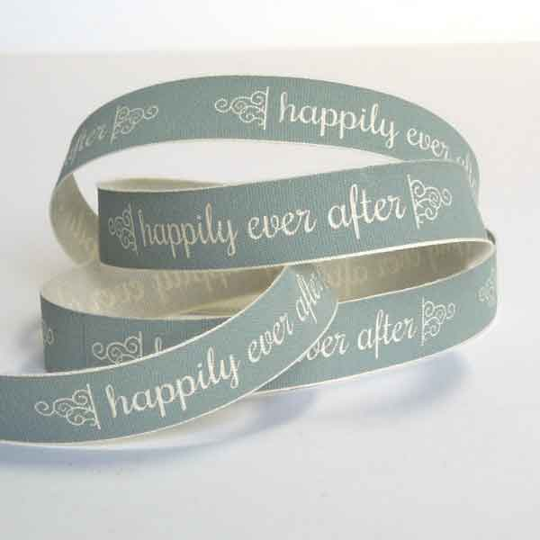 15 mm happily ever after Grey Wedding Ribbon