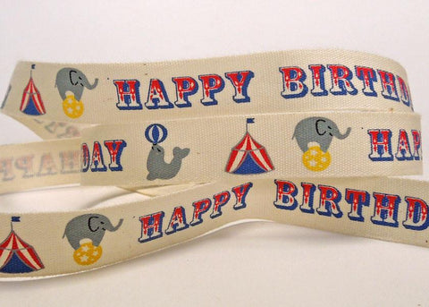 15 mm Happy Birthday Cotton Ribbon, 5/8 inch Circus Happy Birthday Cotton Tape, Kid's Happy Birthday Ribbon