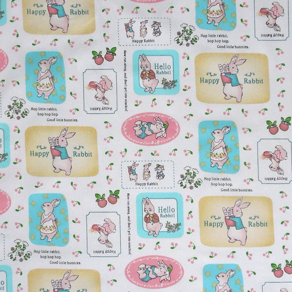 White Nursery Hello Rabbit Cotton Fabric, Baby Bunny Rabbit Fabric