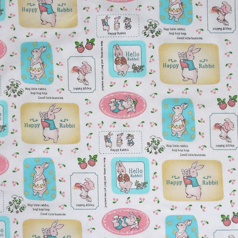 Baby Bunny Rabbit Cotton Fabric, Nursery Hello Rabbit and Happy Rabbit Cotton Fabric