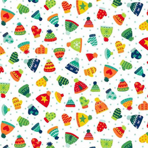 Christmas Hats and Mittens Cotton Fabric by Makower from their Novelty Christmas Collection, Kid's Pom Pom Hats and Mittens Christmas Fabric
