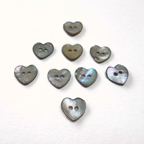 11 mm Heart Natural Shell Buttons, 2 Hole Buttons, Pack of 9
