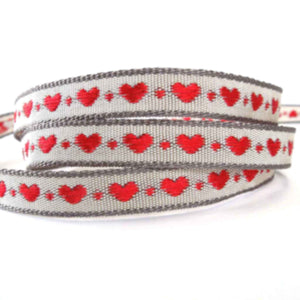 10 mm Red and Grey Little Heart Woven Ribbon