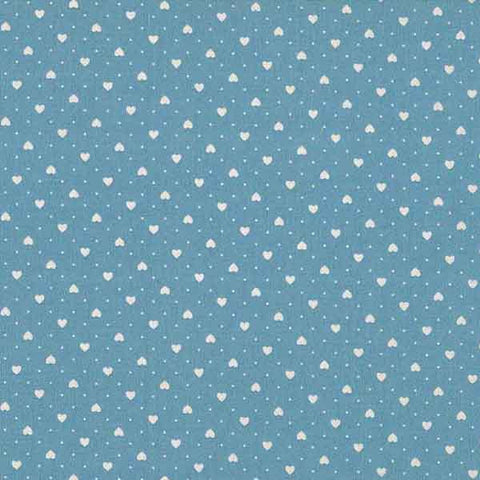 White Hearts on Blue Cotton Fabric by Makower, 567/B4 from their London Collection