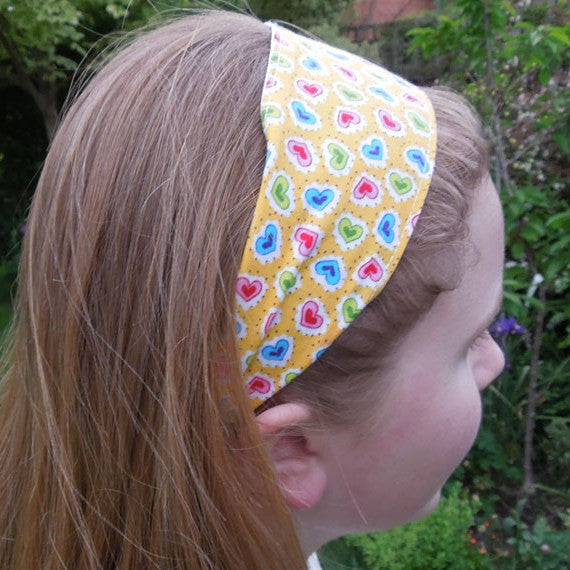 Girl's Yellow Hearts Scrunchie, Hairband and Bandanna plus Organza Gift Bag, Handmade in Pure Cotton - Fabric and Ribbon