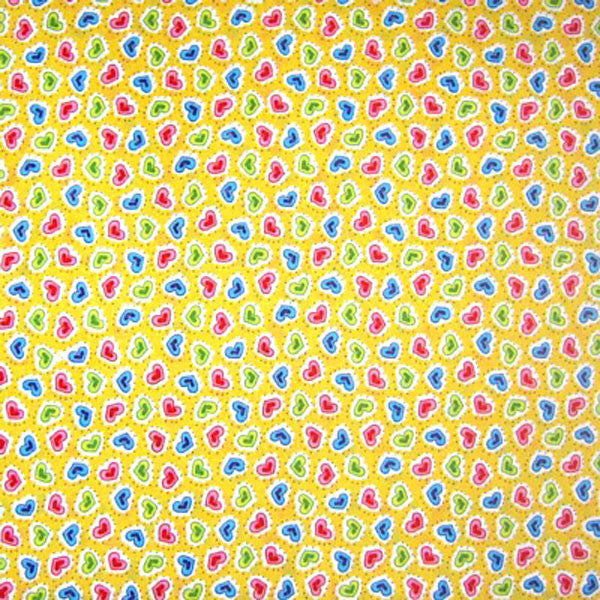 Yellow Heart Cotton Fabric, Blue, Pink and Green Little Hearts on Yellow Cotton Fabric