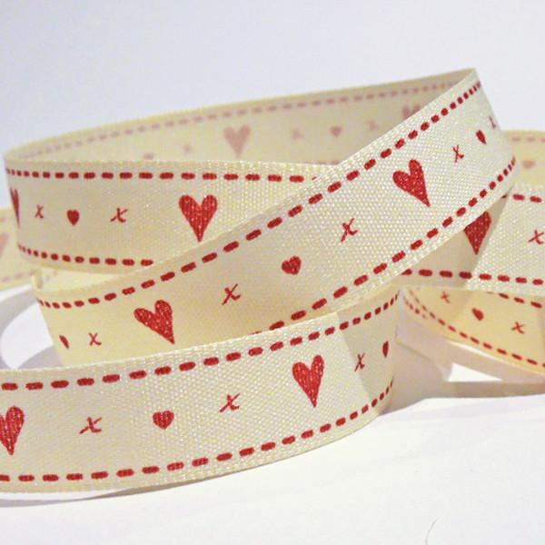 15 mm Xmas Cream Hearts & Kisses Fabric Ribbon, 5/8 inch Christmas Cream Ribbon with Red Love Hearts, Berisford Vintage Christmas Collection