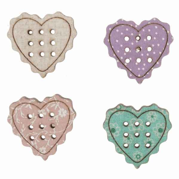 23 mm Love Heart Wooden Buttons,  DU4362, Pack of 4 Coloured Large Heart Craft Buttons - Fabric and Ribbon