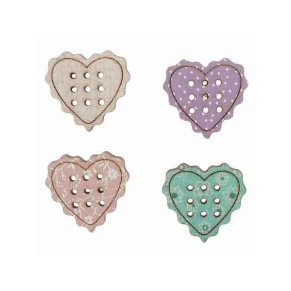 23 mm Heart Buttons,  Wooden Love Heart Buttons, Pack of 4 Valentine Craft Buttons, Wedding Coloured Heart Buttons