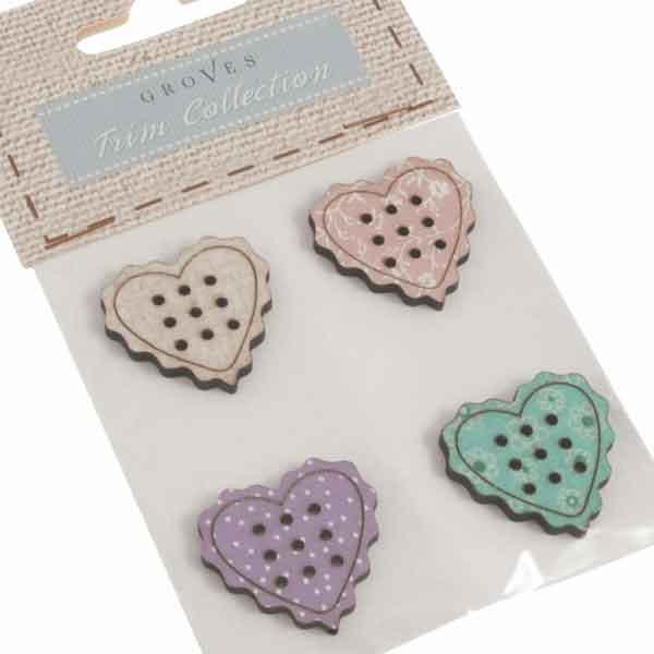 23 mm Love Heart Wooden Buttons,  DU4362, Pack of 4 Coloured Large Heart Craft Buttons