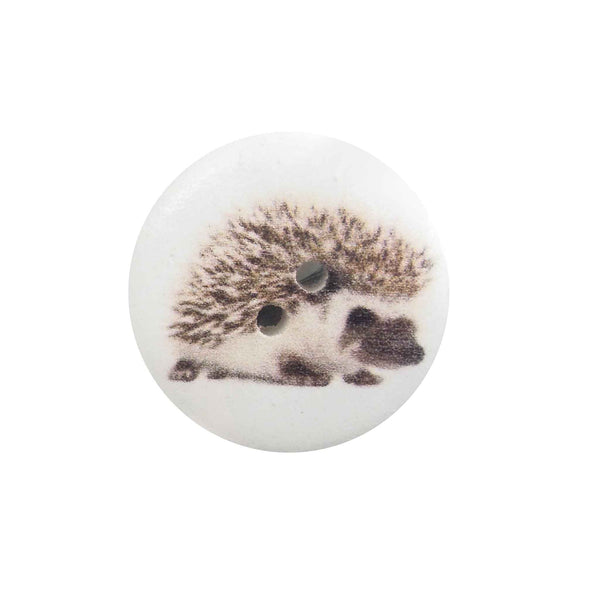 Hedgehog Wooden Craft Buttons, 18 mm, 25 mm, Pack of 15 Buttons