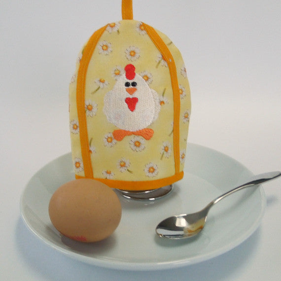 Yellow Easter Chick Egg Cosy, Kid's Embroidered Easter Hen Egg Cosy, Handmade in Pure Cotton
