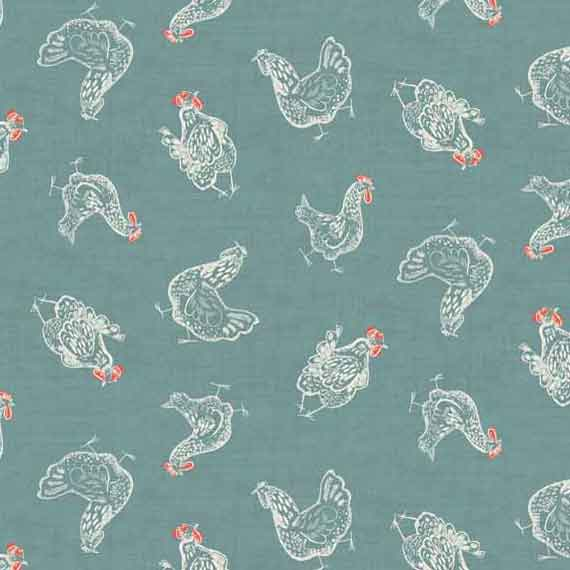 Blue Chicken Cotton Fabric by Makower 1778/B, Home Grown Collection - Fabric and Ribbon