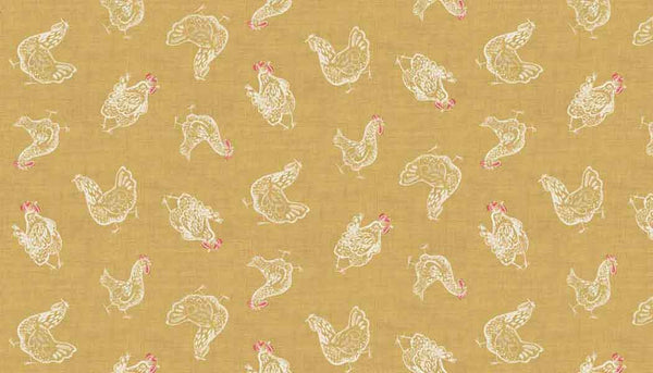 Yellow Chicken Cotton Fabric by Makower 1778/Y from their Home Grown Collection
