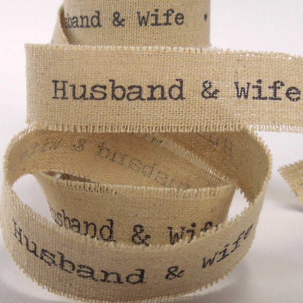 22 mm Husband & Wife Linen Wedding Ribbon, 7/8 inch Frayed Edge Linen and Cotton Wedding Tape - Fabric and Ribbon