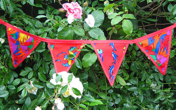 Children's Red Reversible Bunting, Red Circus, Parrots and Dolphins Bunting Handmade in Pure Cotton