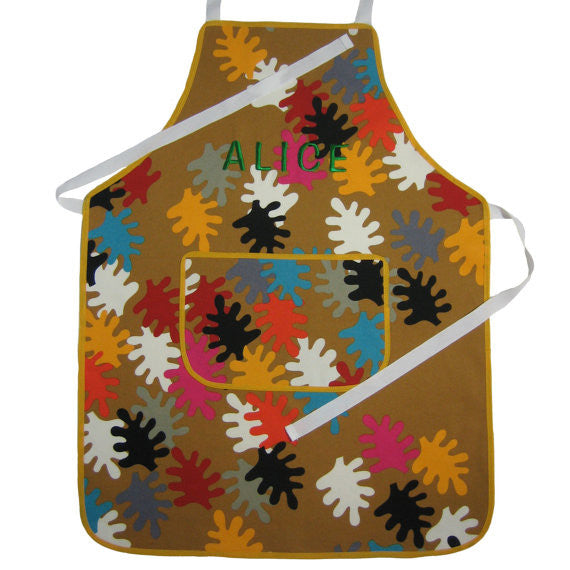 Personalized Child's Leaf Patterned Apron, Older Child's Multicoloured Leaf Apron with Pocket, Handmade in Pure Cotton, Ages 7 - 12 yrs - Fabric and Ribbon