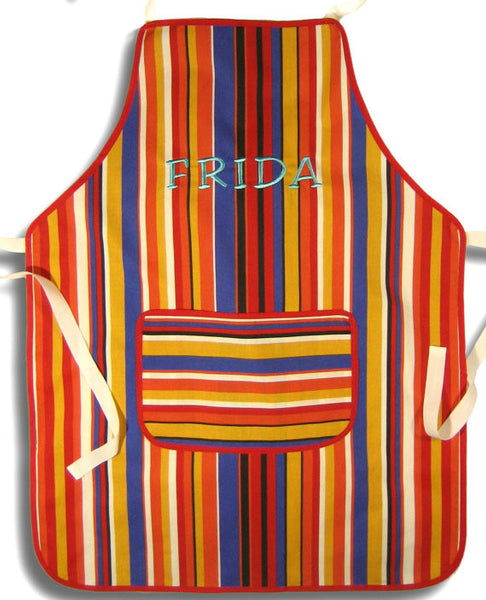 Older Child's Personalised Apron, Red Stripes Kid's Apron, Red Striped Apron with Pocket, Handmade in Pure Cotton, Ages 7 - 12 yrs