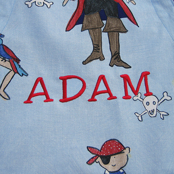 Personalized Boys Apron, Child's Pirate Apron with Pocket, Childrens Blue Pure Cotton Personalised Apron, Ages 2 - 6 yrs