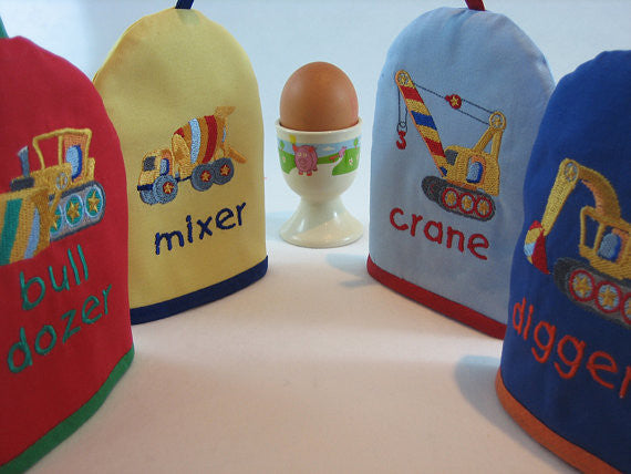 Kid's Blue Digger Egg Cosy plus Linen Drawstring Gift Bag, Embroidered Digger Design, Handmade in Pure Cotton - Fabric and Ribbon