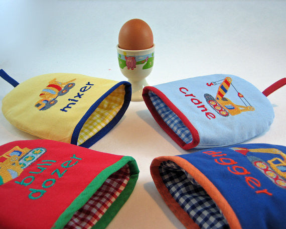 Blue Crane Egg Cozy, Boy's Building Site Egg Cosy, Embroidered Crane Design, Handmade in Pure Cotton