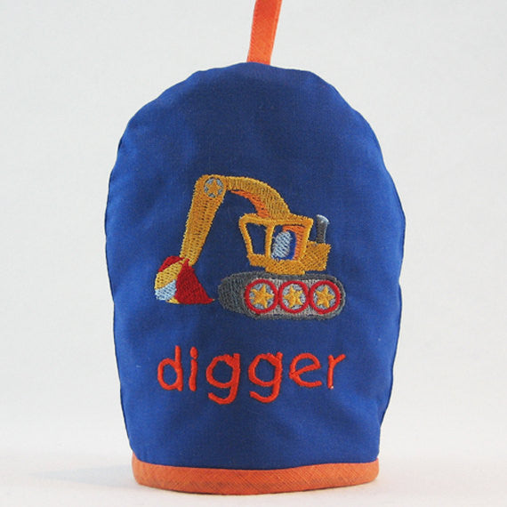 Kid's Blue Digger Egg Cosy plus Linen Drawstring Gift Bag, Embroidered Digger Design, Handmade in Pure Cotton