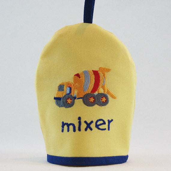 Kid's Yellow Cement Mixer Egg Cosy plus Linen Drawstring Gift Bag, Embroidered Cement Mixer Design, Handmade in Pure Cotton