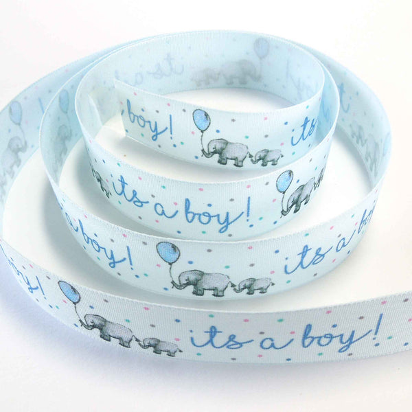 25 mm Blue Baby Boy Ribbon, 1 inch 'its a boy!' Fabric Ribbon, Blue Christening Ribbon