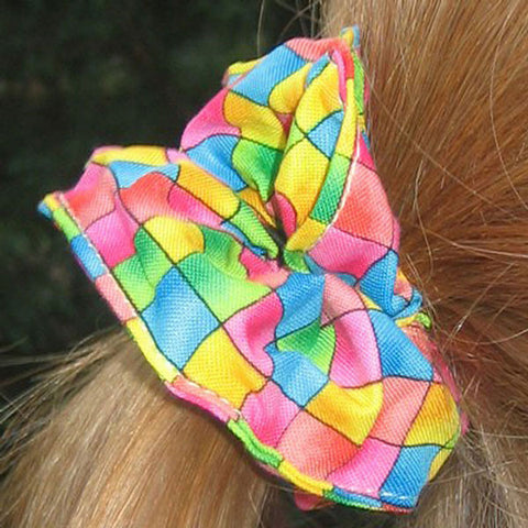 Girl's Bright Checked Scrunchie, Hairband and Bandana Organza Bag Gift Set Handmade in Pure Cotton