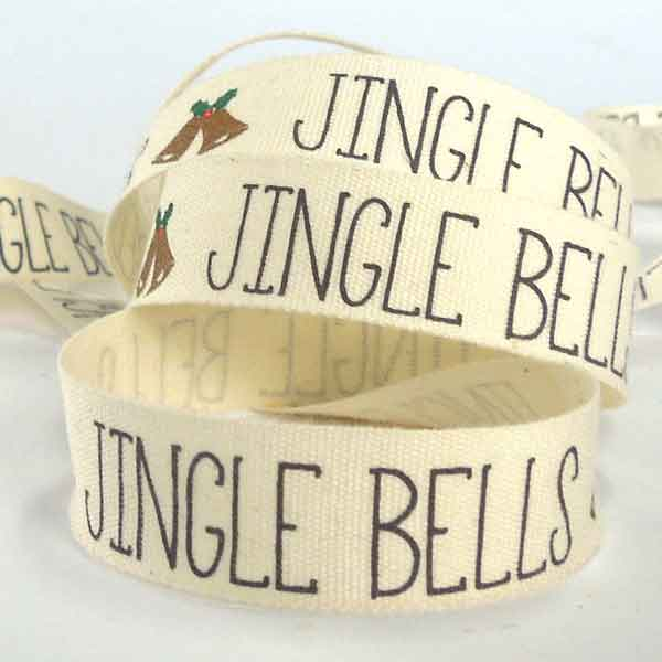 15 mm Cream Jingle Bells Christmas Cotton Ribbon, 5/8 inch Cream, Black and Gold Xmas Cotton Tape - Fabric and Ribbon