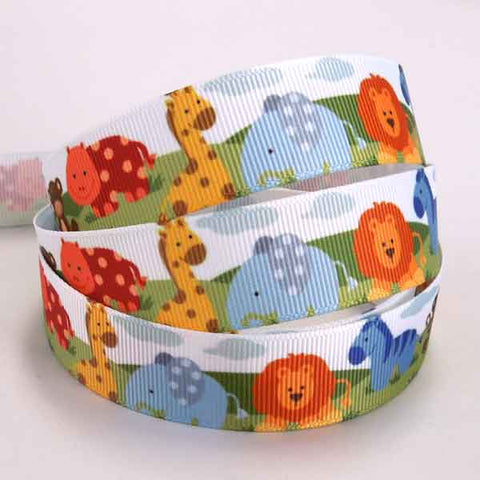 22 mm Baby Jungle Animal Grosgrain Ribbon