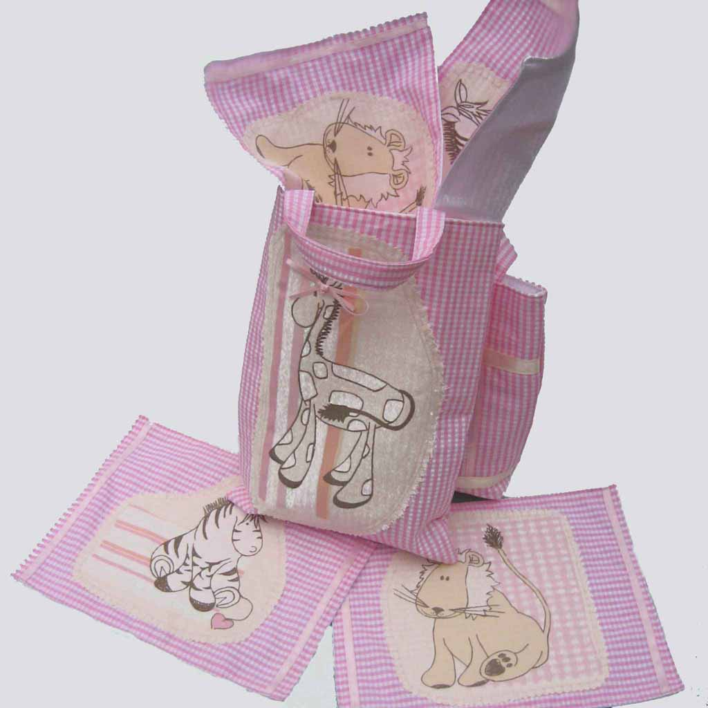 Kid's Cute Giraffe Tote Bag and Picnic Set handmade in pink cotton gingham and fully lined. Children's Shopping Bag and Picnic Mats