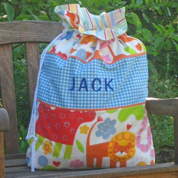 Child's Blue Nursery Animal Personalised Toy Sack Handmade in Pure Cotton and Fully Lined